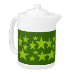 Green Stars Abstract art Tea Pot