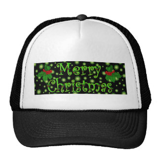 Green Stars and Holly Merry Christmas Hat