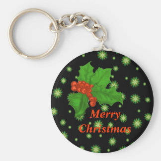 Green Stars and Holly Merry Christmas Magnets Basic Round Button Keychain