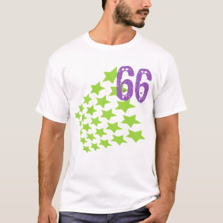 GREEN STARS AND PURPLE NUMBER 66 T-Shirt