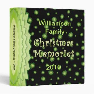 Green Stars Christmas 1 inch Memories Bi Vinyl Binder