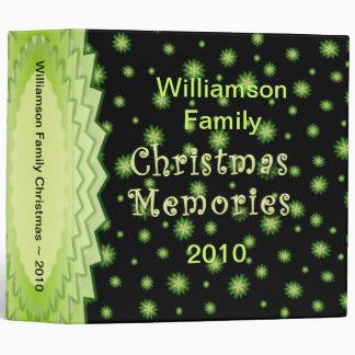 Green Stars Christmas 2 inch Memories Binder