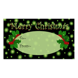Green Stars Christmas Gift Tags - Business Cards
