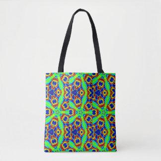 green stars floral geometric tote bag