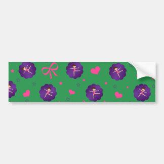 Green stars hearts bows purple scallop gymnast car bumper sticker