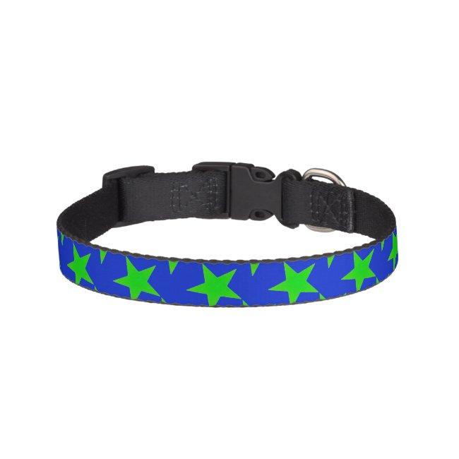 Green Stars on Blue Pattern Pet Collar