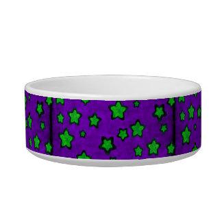 Green Stars On Purple Grunge Style Cat Water Bowl