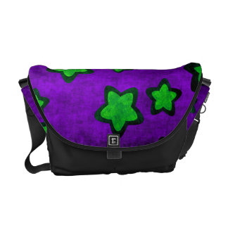 Green Stars On Purple Grunge Style Messenger Bag