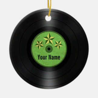 Green Stars Personalized Vinyl Record Album Christmas Ornament