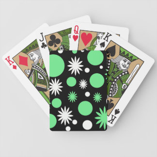 Green Stars & Polka Dots with Black Background Bicycle Poker Cards