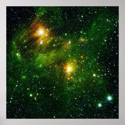 Green stars poster