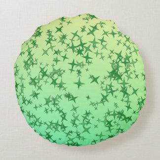 Green Stars Round Pillow