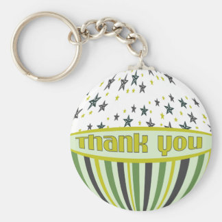 Green Stars Stripes Thank You Keychain