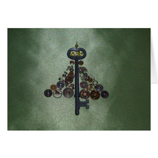 Green Steampunk Christmas Tree Card