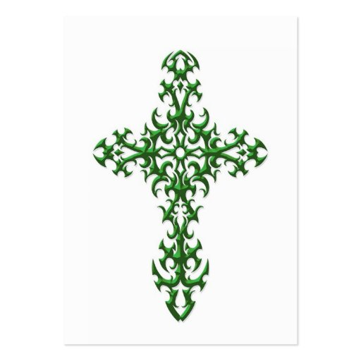 ... Template Green steel gothic cross on white business card template