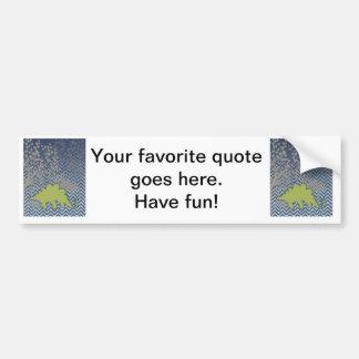 Green Stegosaur on zigzag chevron - blue and white Bumper Sticker