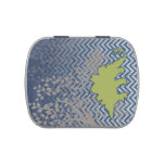 Green Stegosaur on zigzag chevron - blue and white Jelly Belly Candy Tin