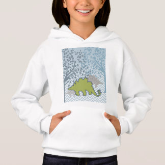 Green Stegosaur on zigzag chevron - blue and white Hoodie