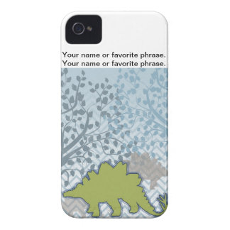 Green Stegosaur on zigzag chevron - blue and white iPhone 4 Cover