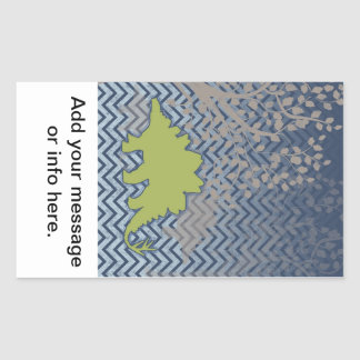 Green Stegosaur on zigzag chevron - blue and white Rectangular Sticker