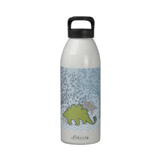 Green Stegosaur on zigzag chevron - blue and white Drinking Bottle