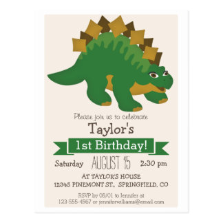 Green Stegosaurus Dinosaur Kid's Birthday Party Postcard