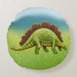 Green Stegosaurus Dinosaur Pillow Round Pillow