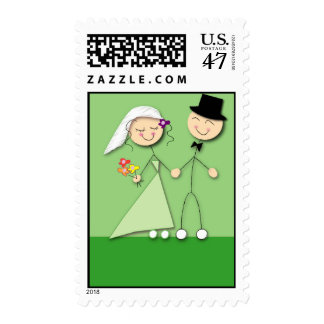 Green stick figure bride and groom postage