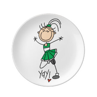 Green Stick Figure Cheerleader Dinner Plate