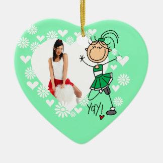 Green Stick Figure Cheerleader Ornament