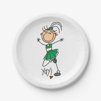 Green Stick Figure Cheerleader Paper Plate
