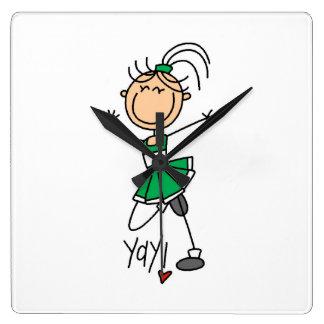 Green Stick Figure Cheerleader Square Wall Clock