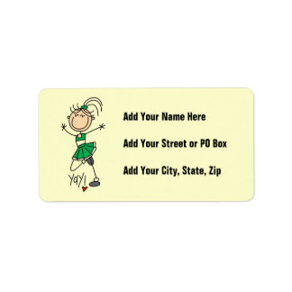 Green Stick Figure Cheerleader t-shirts and Gifts Address Label