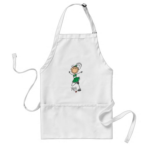Green Stick Figure Cheerleader t-shirts and Gifts Aprons