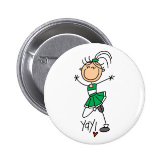 Green Stick Figure Cheerleader t-shirts and Gifts Buttons