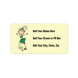 Green Stick Figure Cheerleader t-shirts and Gifts Label