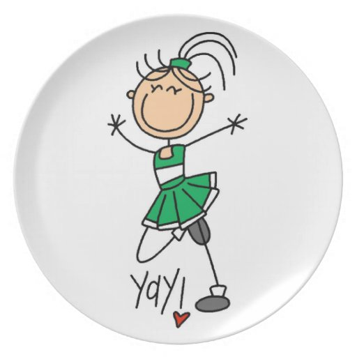 Green Stick Figure Cheerleader t-shirts and Gifts Plates