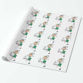Green Stick Figure Cheerleader Wrapping Paper