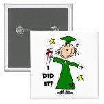 Green Stick Figure Girl Graduate Pinback Button
