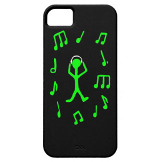 green stickman grooving to his tunes iPhone SE/5/5s case