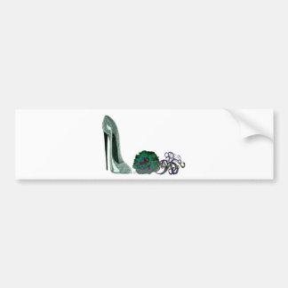 Green Stiletto Shoe and Rose Art Bumper Sticker
