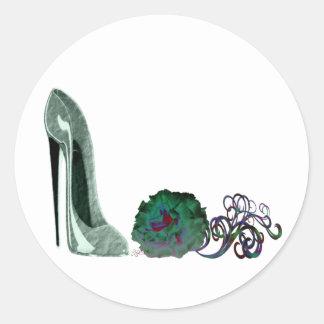 Green stiletto shoe and rose art classic round sticker