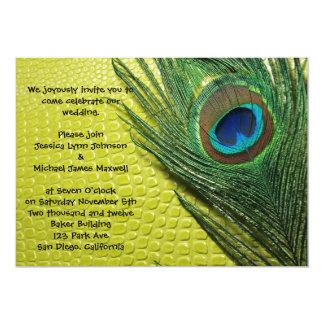 """Green Still Life Peacock Wedding 5"""" X 7"""" Invitation Card"""