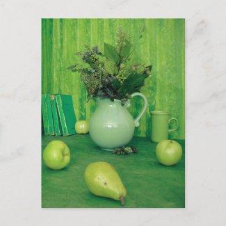 Green Still Life Recipe Card postcard