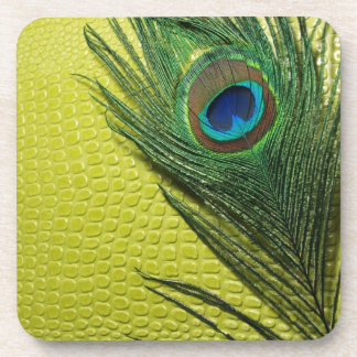 Green Still Life with Peacock Feather Beverage Coasters