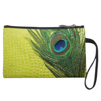 Green Still Life with Peacock Feather Suede Wristlet Wallet
