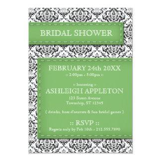 Green Stitched Damask Bridal Shower Invitations