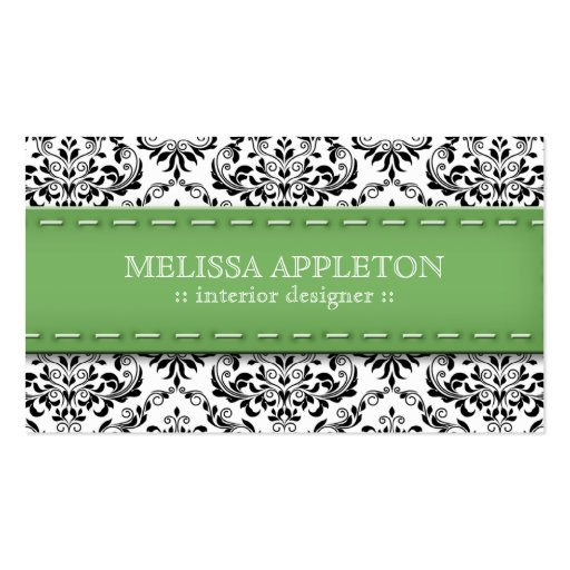 Green Stitched Damask Interior Designer Business Card Template