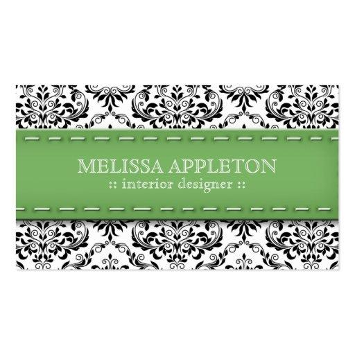 Green Stitched Damask Interior Designer Business Card Template