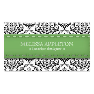 Green Stitched Damask Interior Designer Double-Sided Standard Business Cards (Pack Of 100)